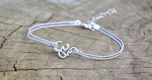 Om anklet, dainty gray cord anklet with silver Om charm, ankle bracelet, gift for her, minimalist jewelry, beach, yoga, hindu, summer by Shani & Adi Jewelry
