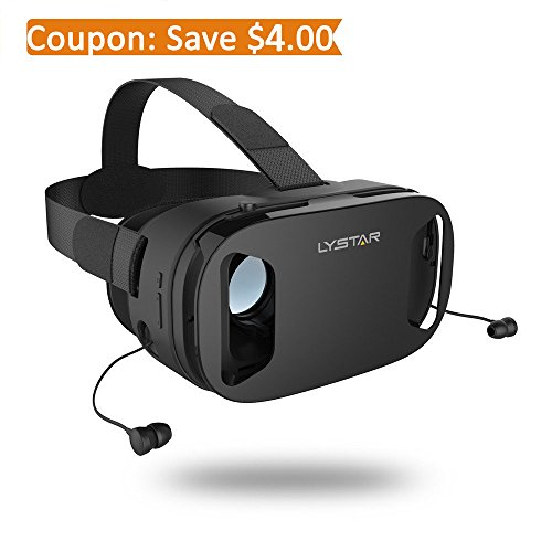 3D VR Glasses W/Headphones Virtual Reality Headset for VR Games & 3D Movies by LyStar, VR Headset 3D Video Glasses for IOS & Android Smartphones Fit for 4.5''-6.0'', Touch Screen Button Trigger by LyStar