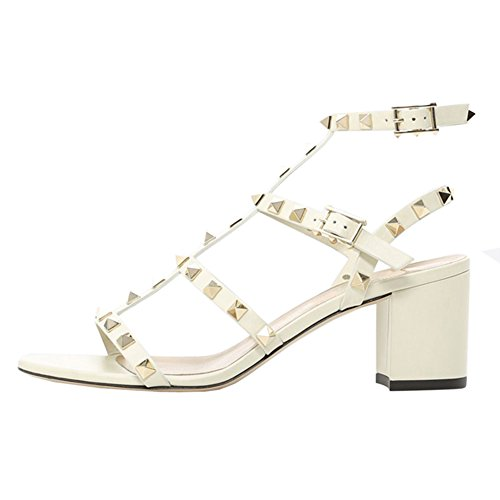Sandals Ankle Gold White Slingback Block Strappy Heels Gladiator Dress VOCOSI Studded Women's Summer With Rivets Strap RSqfSFH