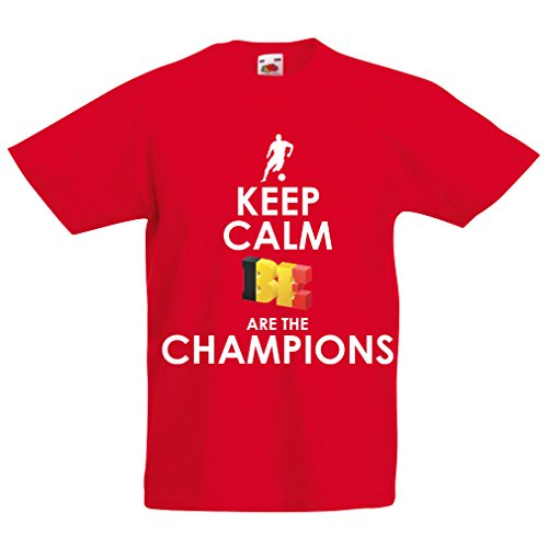 Kids Boys/Girls T-Shirt Belgians are The Champions - Russia Championship 2018, World Cup Soccer Team of Belgium Fan Shirt (1-2 Years Red Multi Color)