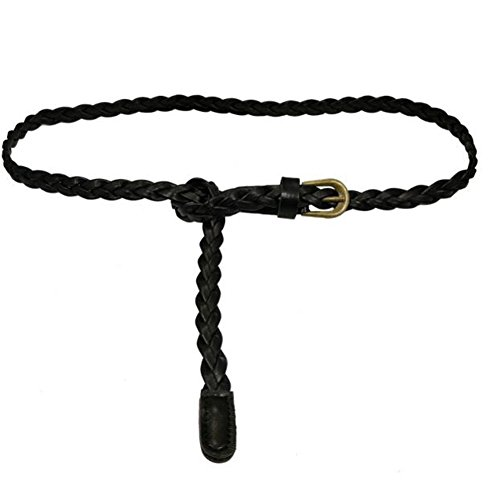 KOINECO Women Braided Woven Skinny Thin Narrow Decoration Leather Belt (Skinny Braided Belt)