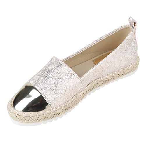 Stiefelparadies Damen Espadrilles Metallic Slipper Bast Profilsohle Flats Freizeit Schuhe Glitzer Prints Spitze Flandell Gold Snake