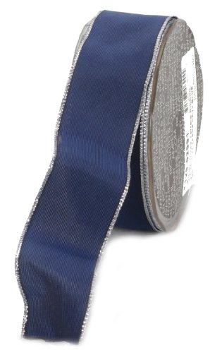 Ampelco Ribbon Company Silver Wired 27-Yard Taffeta Ribbon, 1.5-Inch, Navy Blue