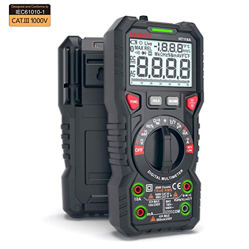 KAIWEETS Digital Multimeter, TRMS 6000 Counts Volt Meter Auto Ranging, Measures Voltage Amp Resistance Diodes Continuity Duty-Cycle Capacitance Temperature LIVE LED Terminals for easy operation