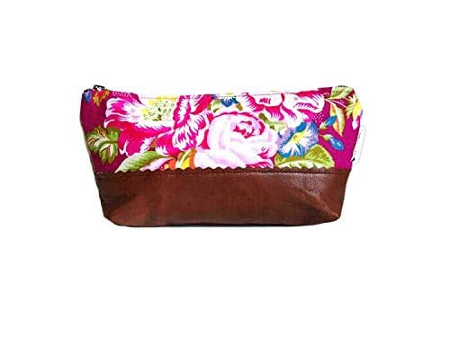 Amazon.com: Floral Leather Makeup Bag, Small Leather