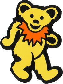 Dancing Bear - Yellow with Orange Necklace - Bumper Sticker / Decal