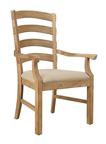 Emerald Home Bel Air Brown Dining Chair with Upholstered Seat, Ladder Back, And Curved Arms, Set of (Arm Curved Back Dining Chair)