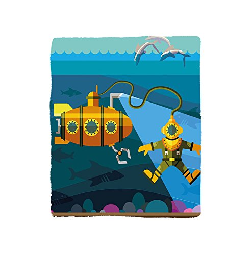 VROSELV Custom Blanket Yellow Submarine A Submarine and a Diver Jumping Dolphins Illustration Print Soft Fleece Throw Blanket Petrol Blue Ginger
