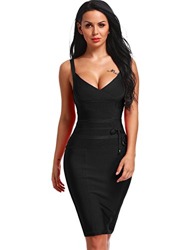 Hego Women's Bandage Dress Spaghetti Strap New Sexy Party Dresses With Belt H4369-1 (L, Black)