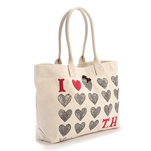 Tommy Hilfiger Heart Th Shopper, Borsa a tracolla donna marrone ecru talla unica