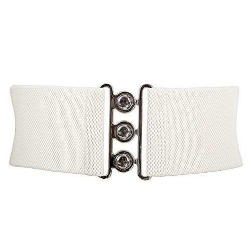(Grace Karin Vintage Wide Elastic Stretch Waist Belt Metal Buckle Waistband Ivory L CL8962 )
