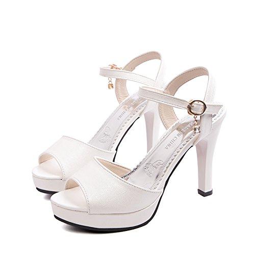 Chaussures Forage Chaussures SHOESHAOGE Le Chaussures High Bouche Water Romain D'Épaisseur Heeled Femme Flat Avec Sandales Femmes EU40 Poisson qvwqSA0Z