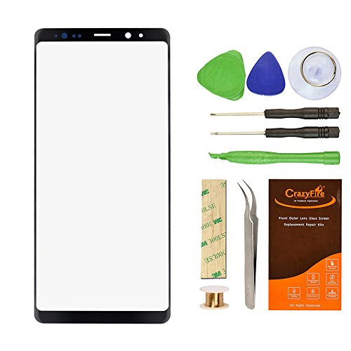 Compatible Samsung Galaxy Note 8 Screen Lens Glass Replacement Kit,CrazyFire Front Outer Lens Glass Screen with Tools Kit and Adhesive for Samsung Galaxy Note 8 N950A N950F 6.3 (Kit Notes)