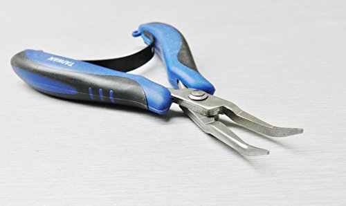 Bent Jaw - Mini Ergonomic Pliers Bent Nose Palm Held Pliers Smooth Jaw with Spring by ACE