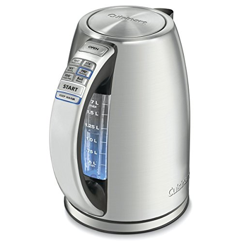 Cuisinart CPK-17P1 CPK-17 PerfecTemp 1.7-Liter Stainless Steel Cordless Electric kettle, 1.7 L, Silver