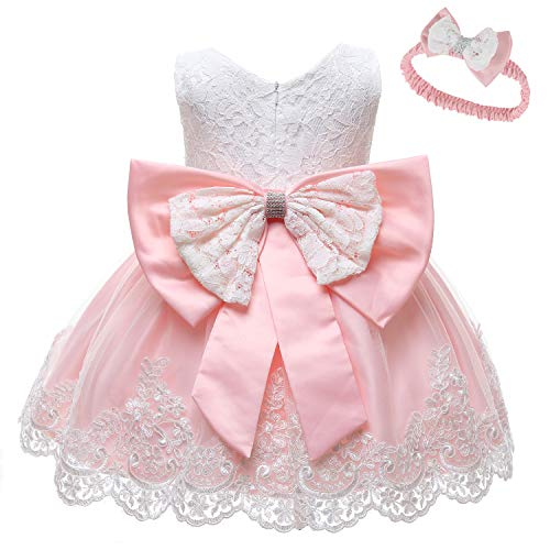 LZH Baby Toddler Lace Dress Girls First Baptism Elegant Embroidery Wedding Party Flower Bridesmaid Bowknot Dresses Up