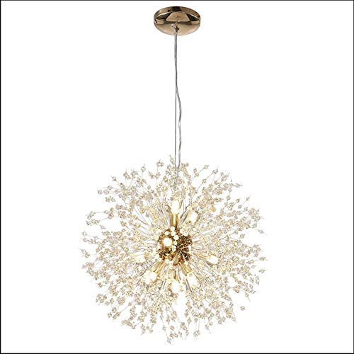 - BIN Super Beautiful Chandelier Pendant Lamp Kitchen Island Dining Room Loft Firework Hanging Light Post Modern Dandelion Crystal LED Lighting Fixture