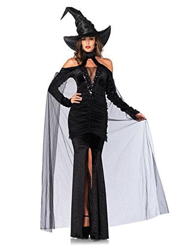 Elegant Witch Adult Plus Costumes (Leg Avenue Women's 2 Piece Sultry Sorceress Costume, Black, Small)