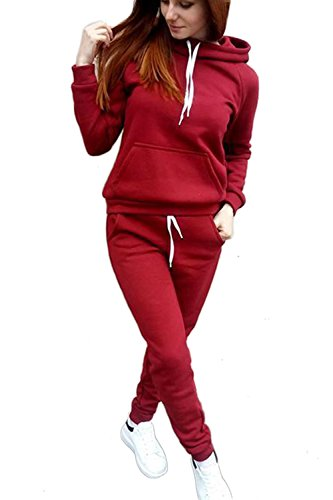 De Sweater Sudaderas Cordon Vino Mujer Piezas Hooides Yulinge Dos Con Plus Size 5Awgxq