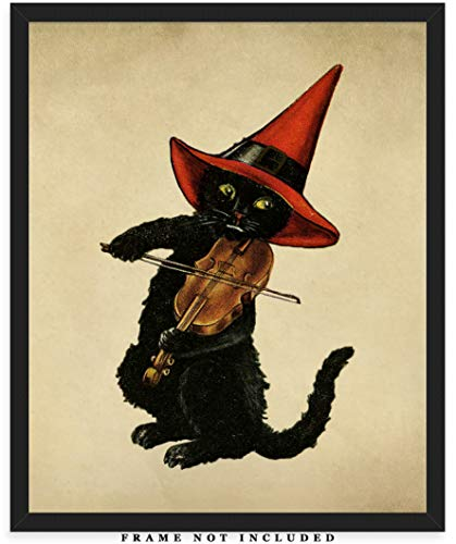 Vintage Victorian Cat Wall Art Print: Unique Room Decor for Boys, Men, Girls & Women - (8x10) Unframed Picture - Great Gift Idea for Cat Lovers Under $15!