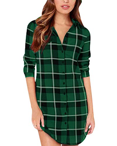 ZANZEA Women Blouses Tops Buffalo Check Plaid Long Sleeve Collar Neck Casual Button Down Shirts Black Green ()