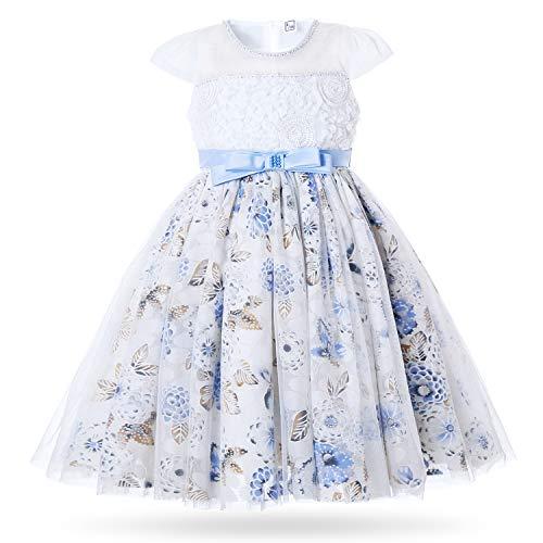 CIELARKO Girls Dress Flower Mesh Birthday Party Dresses for 2-11 Years Blue