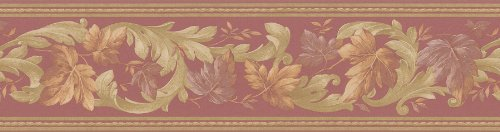 - Brewster 71B06623 Borders and More Leaf Scroll Trail Wall Border, 5.125-Inch by 180-Inch, White