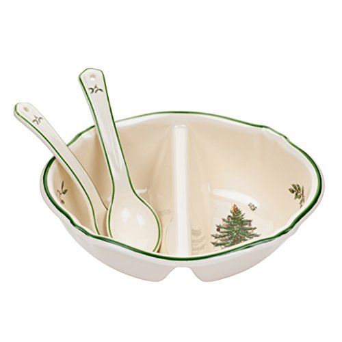 (Spode Christmas Tree Divided Serving Dish with 2-Spoons)