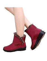 Women's Thicken Waterproof Snow Boots - Ladies Winter Warm Anti-Slip Side Zipper Martin Short Boots 5.5-8.5