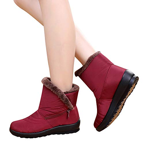 NEARTIME Snow Boots for Women,Winter Waterproof Short Shoes Ladies Mid-Calf Zipper Footwear Warm Shoes