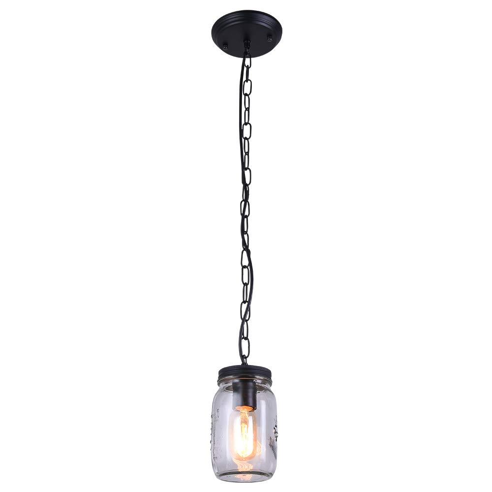 Lingkai Glass Shade Jar Pendant Light 1-Light Close to Ceiling Light Modern Kitchen Island Light Fixture
