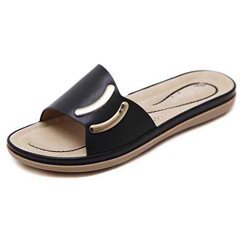 Sandales LIANGXIE New Pantoufles ZHHZZ Métal Ronde Solides Summer Flats Bouton en Noir Mme qZxvrqwa