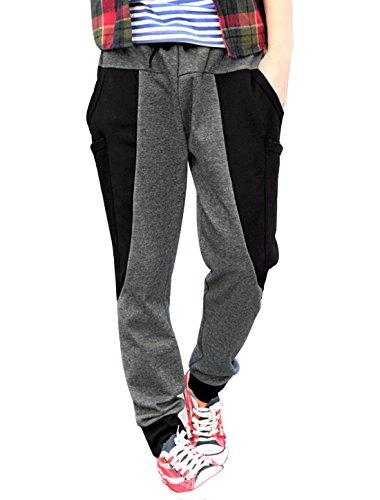 uxcell Men Elastic Waist Pockets Harem Slim Casual Pants Dark Gray 32