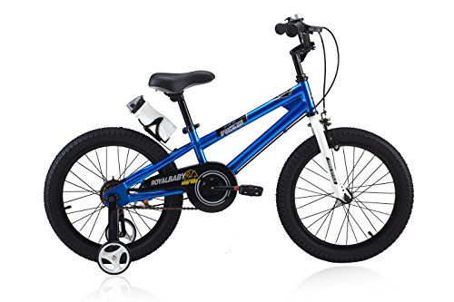Royalbaby RB18B-6B BMX Freestyle Kids Bike, Boy's Bikes and Girl's Bikes with training wheels, Gifts for children, 18 inch wheels, Blue