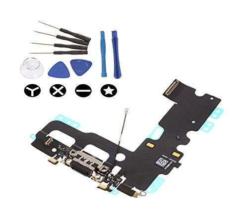 (md0410) Black Lighting USB Charging Port Charge Dock Connector Charger mic Flex Ribbon Cable Replacement Part Compatible for iPhone 7 + Tools Kit
