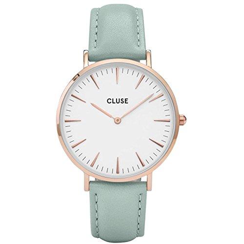 Cluse Women's La Boheme 38mm Mint Leather Band Metal Case Quartz White Dial Analog Watch CL18021