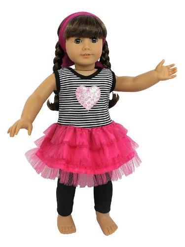 (Heart and Tulle Skirt Doll Clothes for 18
