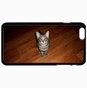 Customized Cellphone Case Back Cover For iPhone 6 Plus, Protective Hardshell Case Personalized Cat Design Design Gray Cat Texture Of Wood Black
