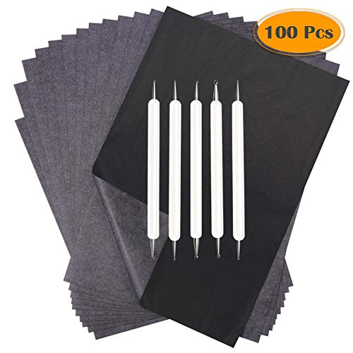 Selizo 100 Sheets Carbon Paper Black Graphite Transfer Tracing Paper with Embossing Stylus Set for Wood, Paper, Canvas Tracing (8.5 x 11 Inches)