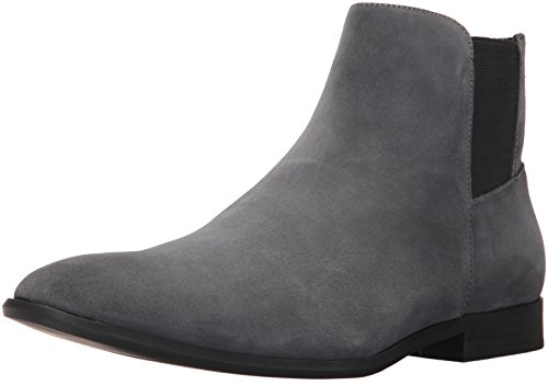 Calvin Klein Men's Larry Calf Suede Ankle Bootie, Grey, 8 M US