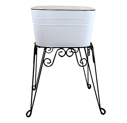 White Enamel Wash Tub & Stand