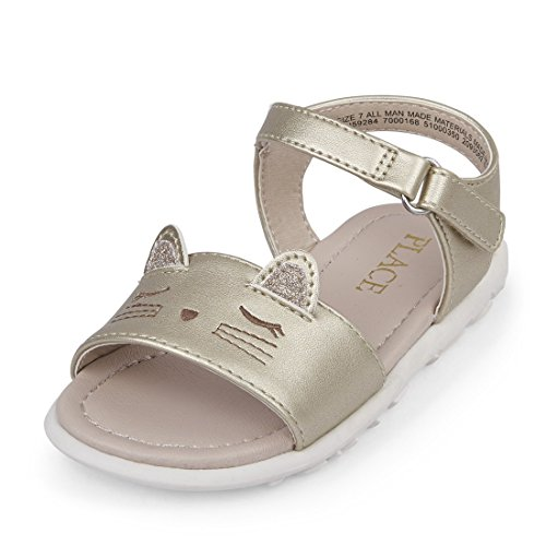 Large Product Image of The Children's Place Girls' TG Cat Canary Flat Sandal, Gold, TDDLR 9 Medium US Infant
