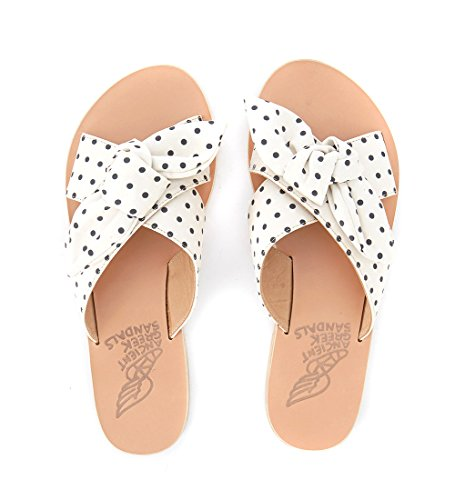 Black Leather Woman's Polka Greek White ANCIENT Dot Sandals 11 GREEK and 41 Ancient US Fantasia IT SANDALS Thais BpwSqxY