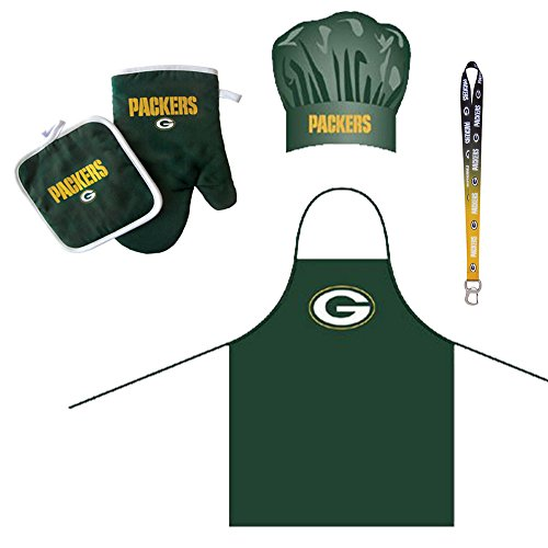 Green Bay Packers NFL Barbeque Apron and Chef's Hat and Oven Mitt with Bottle Opener by Pro Specialties Group