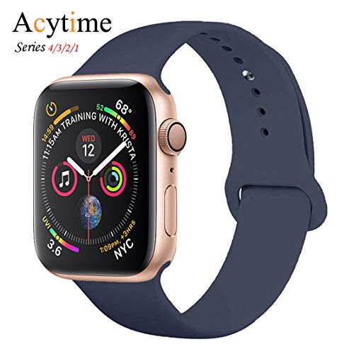 ACYTIME Sport Band for Apple Watch 38mm/40mm 42mm/44mm, Soft Silicone Sport Strap Replacement Bands for iWatch Apple Watch Band Series 4, Series 3, Series 2/1 Sport & Edition (Midnight blue, 38/40 ML) ()