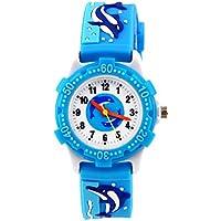 3D Lovely Cartoon Children Watch Silicone Strap Waterproof Digital Round Quartz Wristwatches Time Teacher Gift for Girls Boys Kids (Blue(whale))