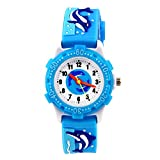 cjc 3D Lovely Cartoon Children Watch Silicone Strap Waterproof Digital Round Quartz Wristwatches Time Teacher Gift for Girls Boys Kids (Blue(whale))