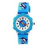 cjc 3D Lovely Cartoon Children Watch Silicone Strap Waterproof Digital Round Quartz Wristwatches Time Teacher Gift for Girls Boys Kids (Blue(whale))
