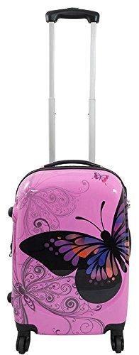 Polycarbonat ABS Hartschalen Koffer Trolley Reisekoffer Reisetrolley Handgepäck Boardcase (M, Butterfly Pink)