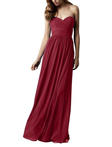 Abendkleider Lang La Brautjungfernkleider Weinrot mia Brau Partykleider Chiffon Herzausschnitt Elegant Abschlussballkleider XXPHqwB